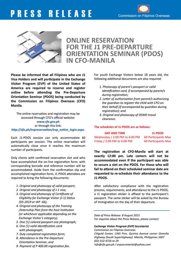 J-1 Registration Pre-Departure Orientation Seminar (PDOS